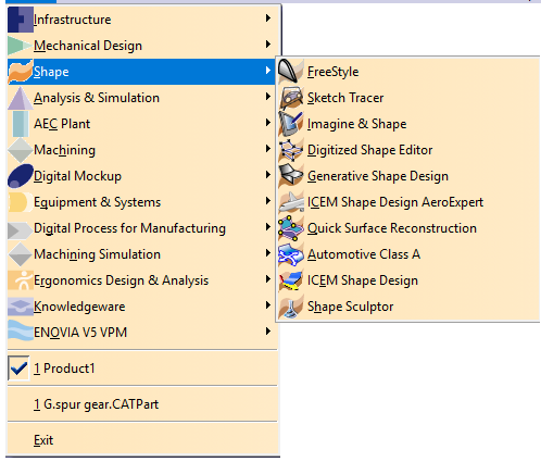 CATIA V5 Modules list