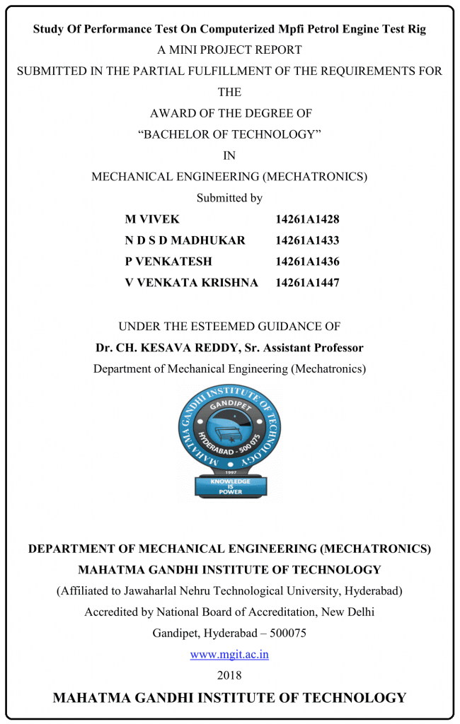 Study Of Performance Test On Computerized MPFI Petrol Engine Test Rig