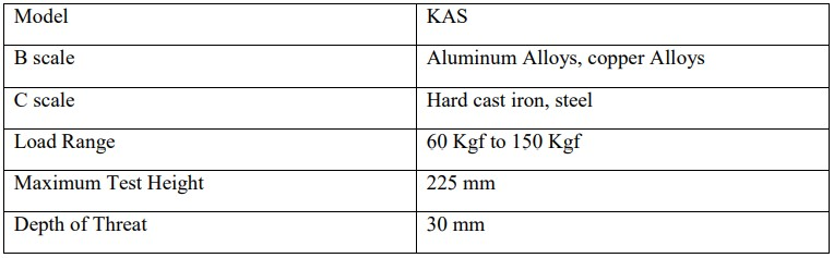 Table 4.7 Specifications of Hardness testing machine