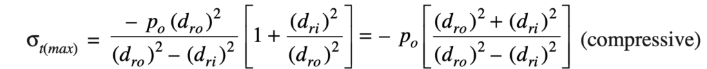Maximum tangential stress for thick cylinder