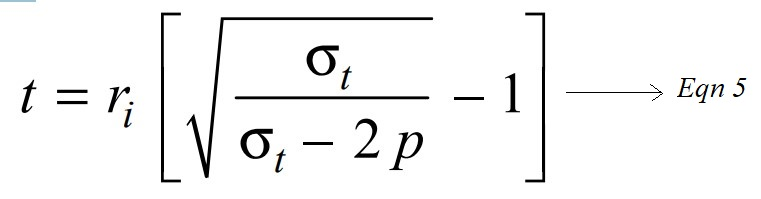 Thickness of Thick Cylindrical Shell from lames equation