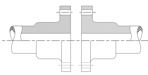 Increased thickness of pipe for short length from falng to provide strength