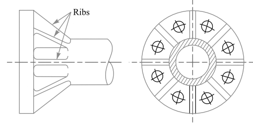 Flange joints strengthen by ribs